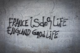 France is dog life, England good life graffiti, Calais, France. June 2015