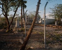 Border markers between Greece and FYROM Macedonia. A FYROM military vehicle is blcking the frontier.