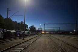 Idomeni refugee Camp by night, Greece, May 2016.